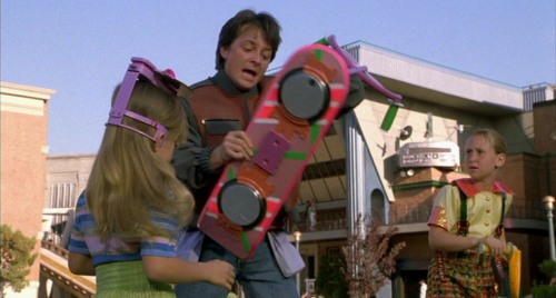 Marty McFly grabs the infamous hoverboard, sending a generation of boys to the stores looking for their own.
